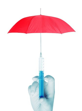 gloves nurse: The concept of vaccination against the infection with injection and red umbrella