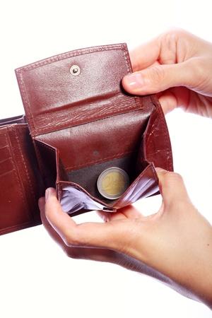 empty wallet: Hand show almost empty wallet