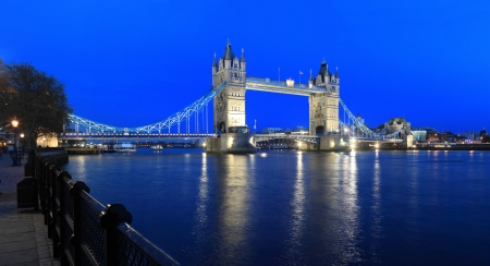 London Tower Bridge by night, Great Britain Stock Photo