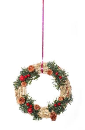 adventskranz: Beautiful advent wreath hanging on string