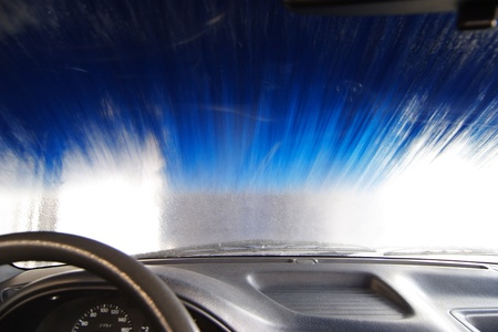 Automatic Car Wash. View from Inside Car