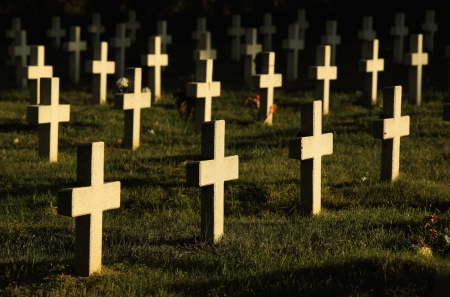 christian halloween: Crosses in cemetery  Stock Photo