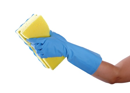 Worker protecting hand from detergents as they use a cleaning sponge 写真素材