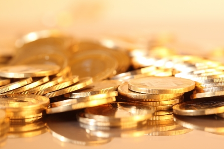 richness: Group of gold coins business money