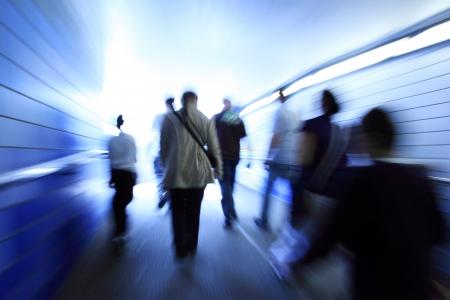 Crowd walking in a corridor Stock fotó