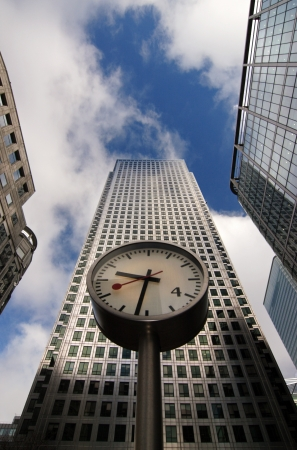 Watch on column surrounded by skyscrapers in London photo