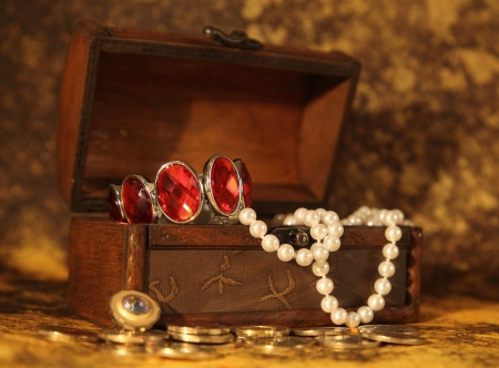 Treasure chest full of jewelry photo