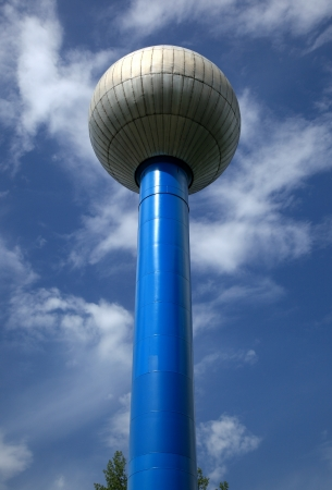 the water tower: Community public water tower utility Stock Photo