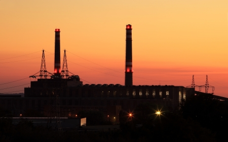 Power station with chimney at evening Stock Photo - 15502304