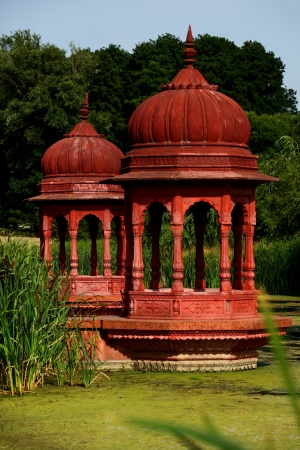 Hindu achitecture, red sanctuary outdoor Stock Photo