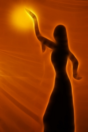 belly dancer: Silhouette of an oriental belly dancer Stock Photo