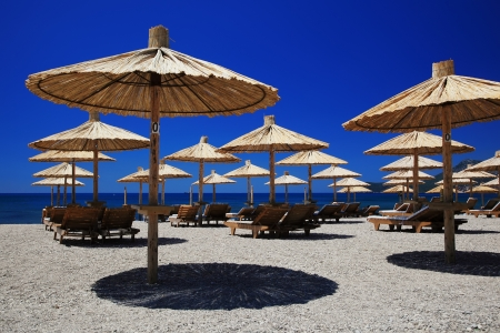 Nice vacation picture with beach parasols Stock Photo