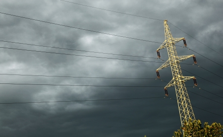 High-voltage electrical transmission tower photo