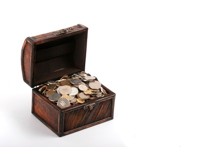 thrifty: Old treasure-chest full of coins
