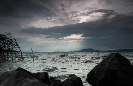 Stormy weather, overcasted sky above Lake Balaton photo