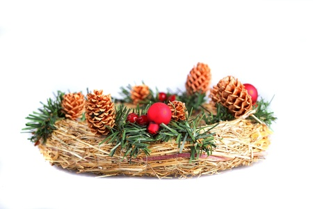 adventskranz: Advent wreath on a white background close up