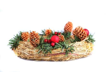 adventskranz: Advent wreath on a white background close up