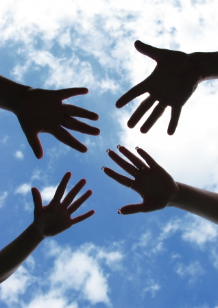 Hands symbol of union touch white light Stock Photo - 15575559