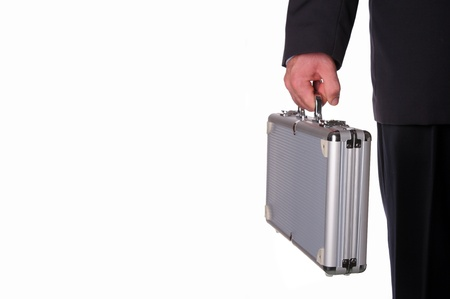 Business man with metal suitcase photo