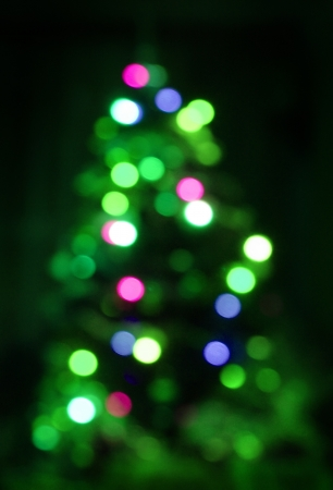 Blurred green Christmas tree lights