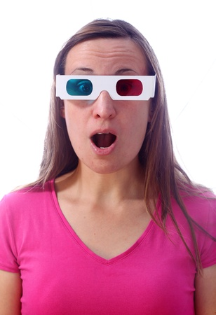 Young woman in 3d glasses with surprised expression photo