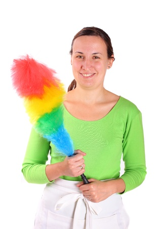 Young woman holding feather cleaner isolated on white photo