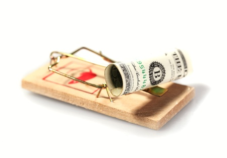 Money on mouse trap isolated on white Stock Photo - 15577004