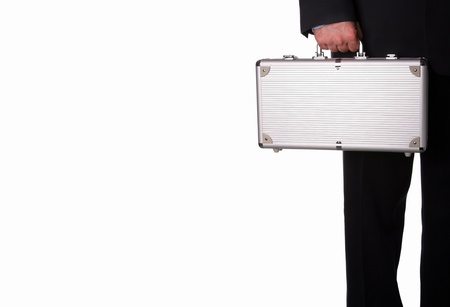 Business man with metal suitcase Stock Photo - 15742379