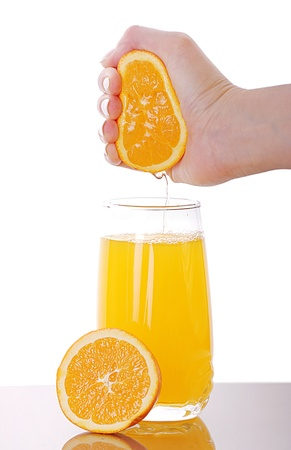 Fresh squeezed orange juice isolated on white Stock Photo - 15742381