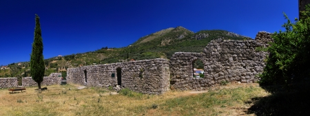 Ancient wall in Stari Bar Montenegro, panorama view photo