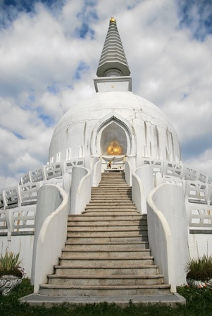 Beautiful white stupa in Hungary