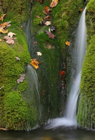 Autumn, and beautiful waterfall in very nice colors photo