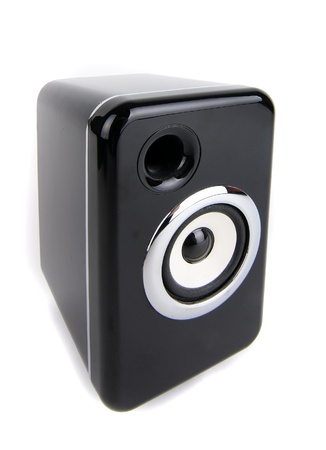 Black sound speaker on white background photo