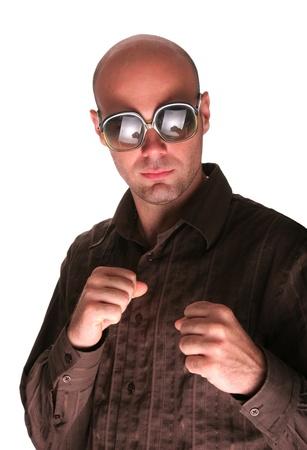 agressive: Agressive men boxing show his fist Stock Photo