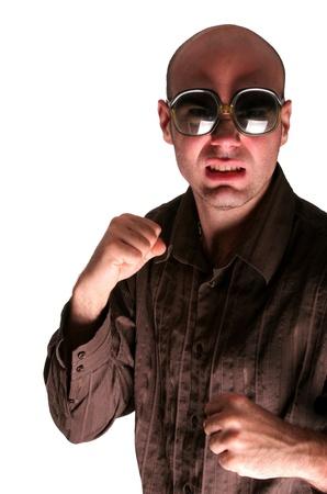 Agressive men boxing show his fist Stock Photo