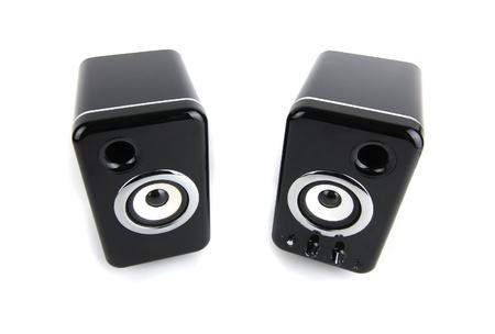 preamp: Black sound speaker on white background Stock Photo
