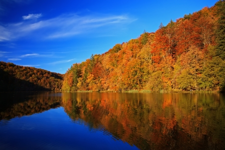 fall scenery: Beautiful lake in forest of national park Plitvice, Croatia