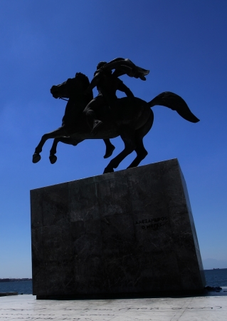 Statue of Alexander the Great at Thessaloniki city in Greece photo