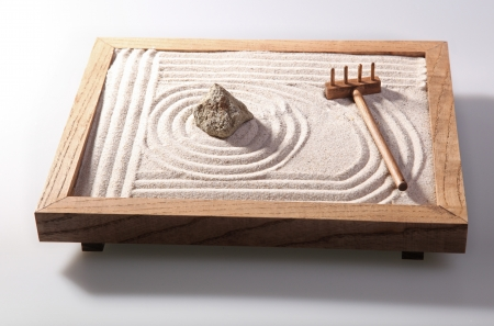 Mini zen garden japanese home decoration in studio