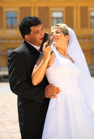 Wedding of a mafia boss outdoo Stock Photo - 16773655