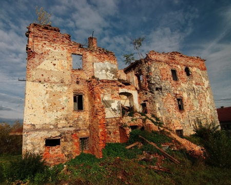 Remains of ruined house in Croatia Stock Photo