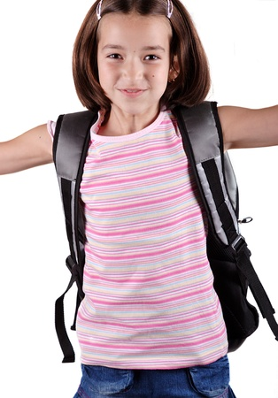 satchel: Happy young schoolgirl with satchel jump against white background