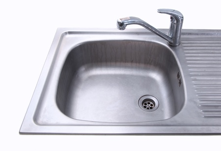 Metal sink isolated on white background