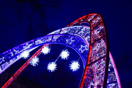 Colorful illuminated arches at Christmas photo