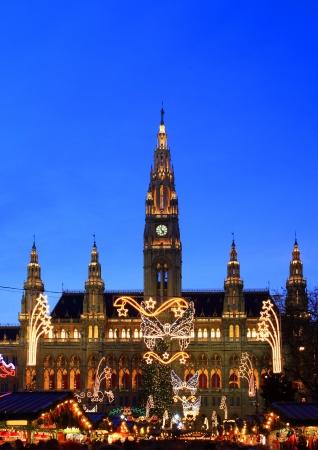 Vienna s City Hall at christmas advent Foto de archivo