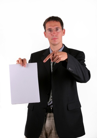 provable: Business man show document as proof