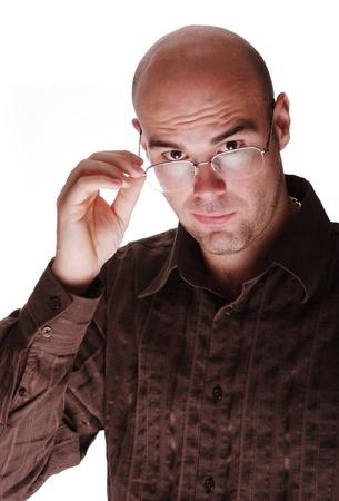 hombre calvo: Hombre calvo con gafas Foto de archivo