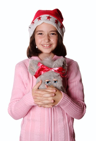 plush toy: Smiled young girl with his favorite plush toy