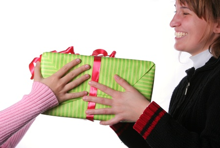 Santa girl give christmas present for her mother photo
