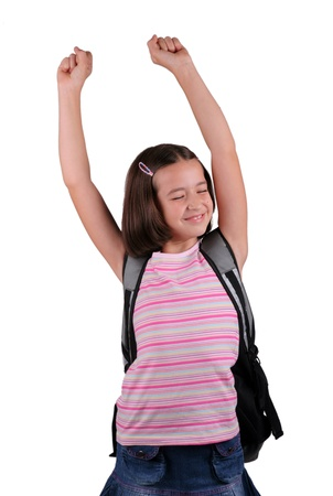 schoolbag: Young schoolgirl with schoolbag stretch oneself